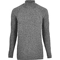 Grey roll neck sweater