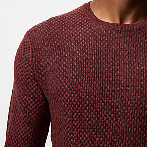 Red textured wool knit sweater