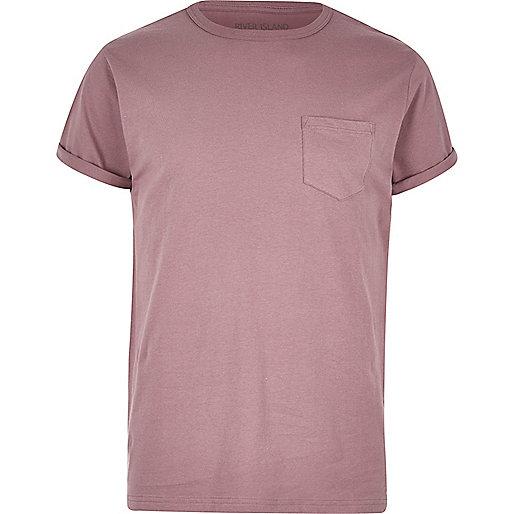 T-shirt rose avec poche poitrine