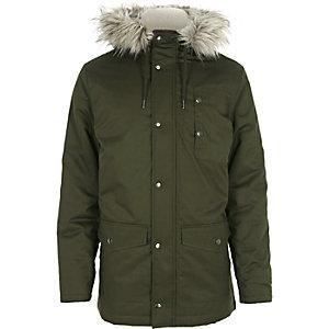 Green faux fur hooded parka jacket