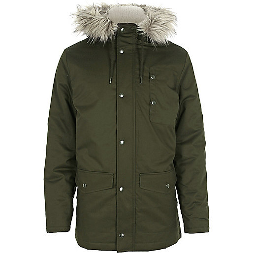 Green faux fur hooded parka jacket