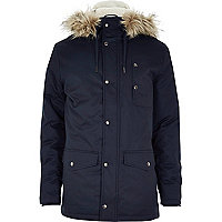 Navy blue faux fur hooded parka jacket
