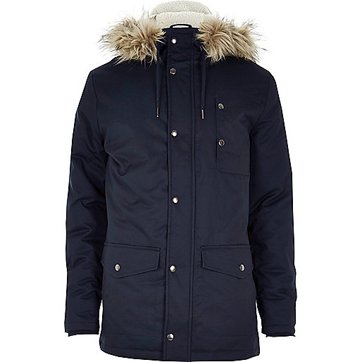 Navy blue faux fur hooded parka jacket - Coats - Coats / Jackets - men