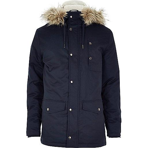 Navy blue faux fur hooded parka jacket