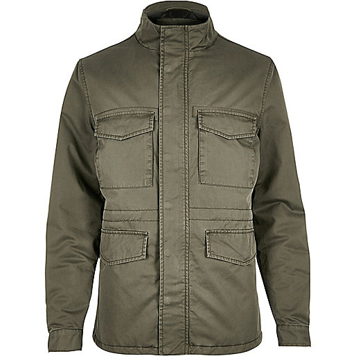 Khaki quilted four pocket jacket