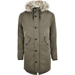 Green faux fur trim parka jacket