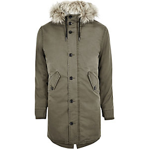Green faux fur trim parka jacket