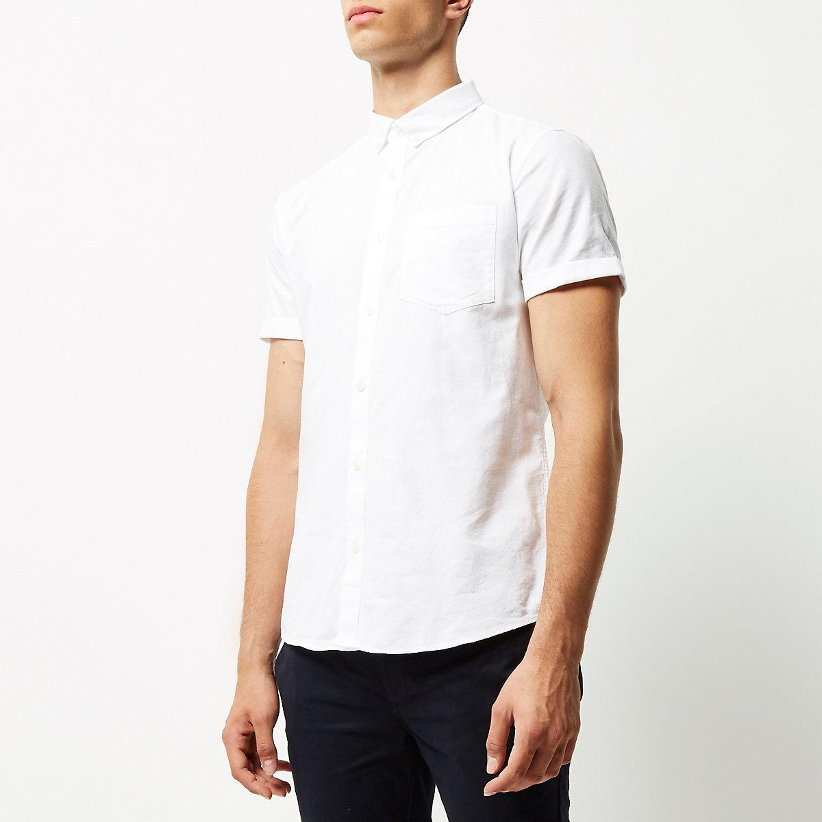 Wit slim-fit Oxford overhemd met korte mouwen