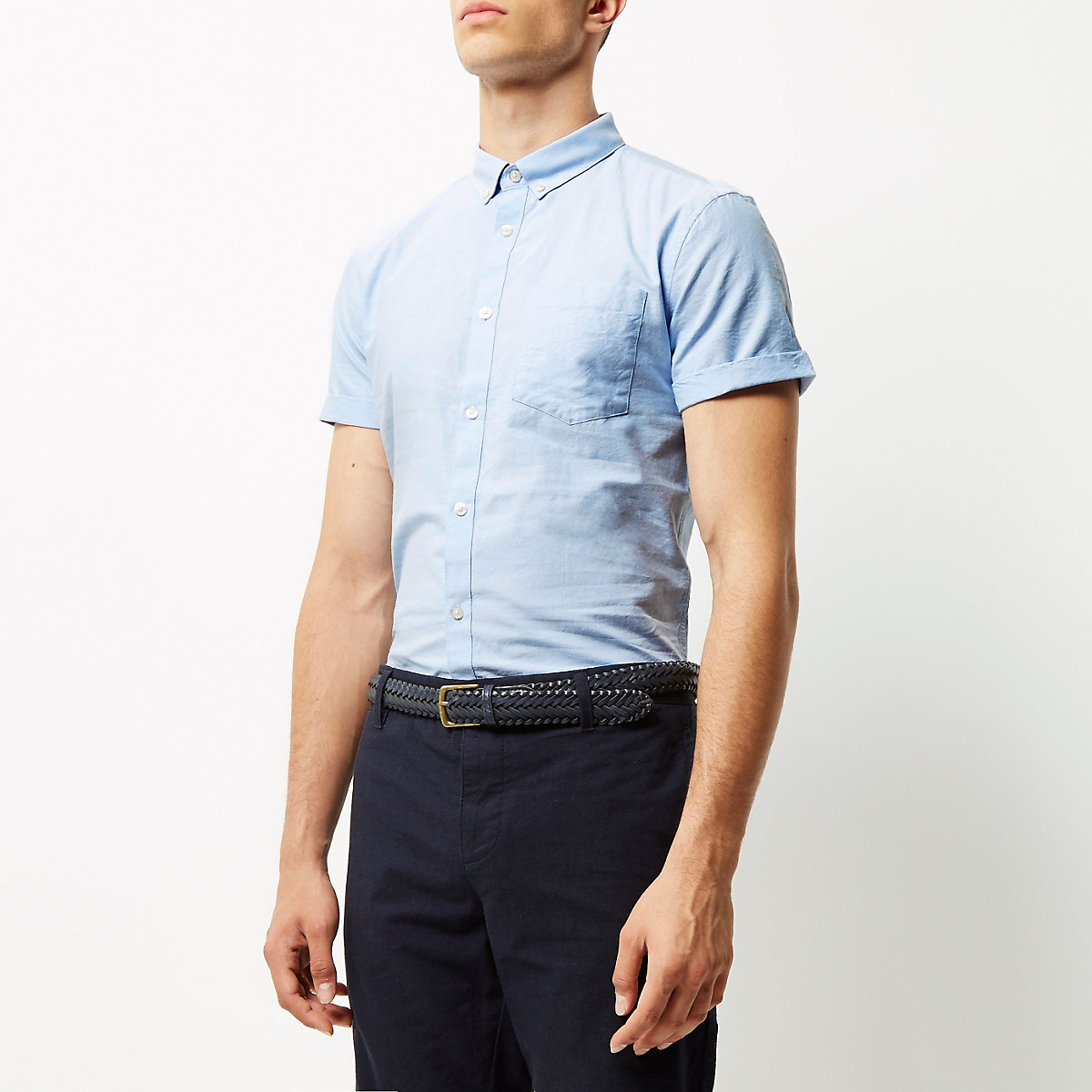 Blue short sleeve slim fit Oxford shirt