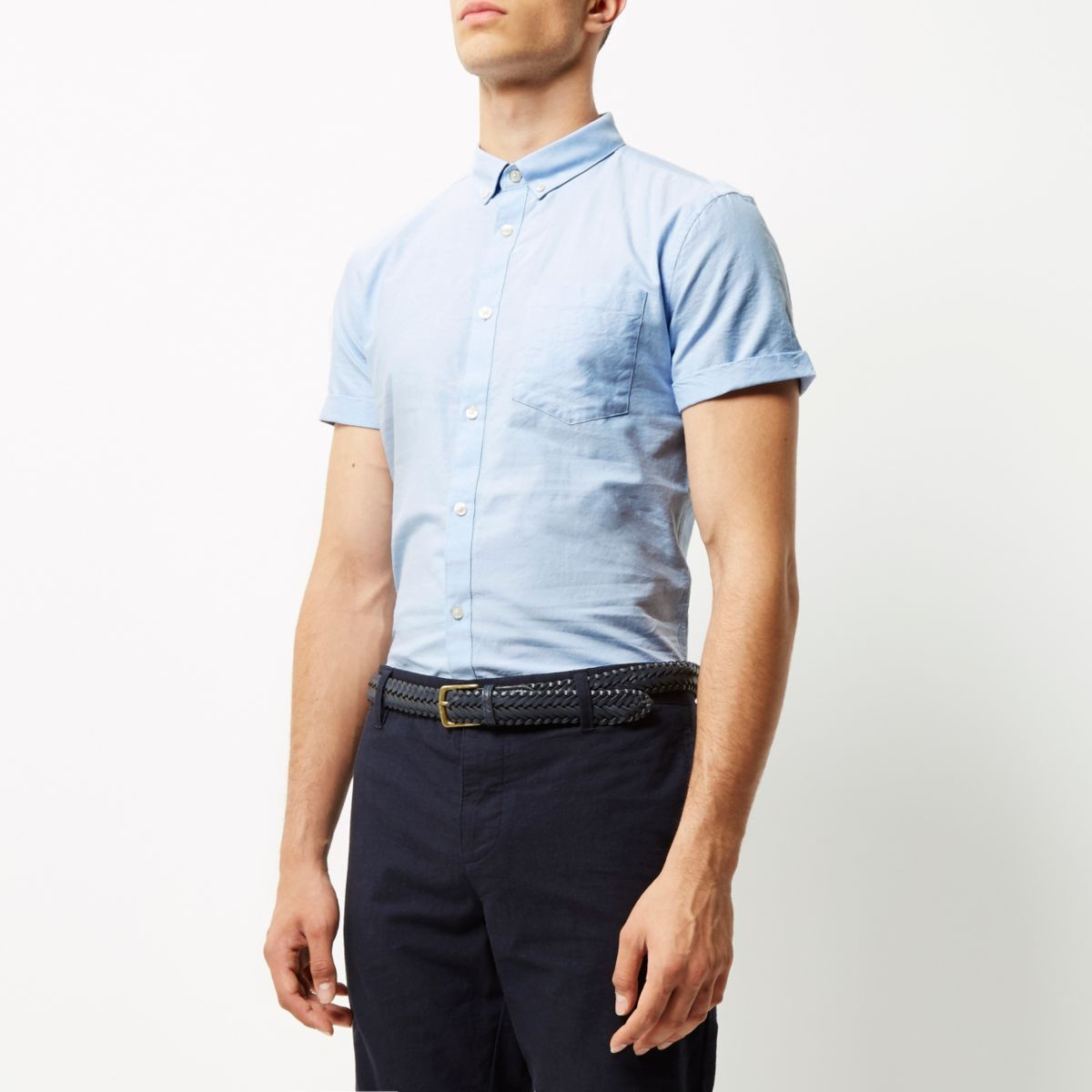 Blauw casual slim-fit Oxford overhemd