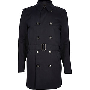 Marineblauwe traditionele waterbestendige trenchcoat