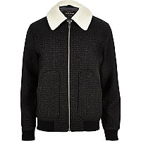 Grey wool check fleece collar jacket