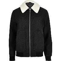 Veste en laine à carreaux grise avec col imitation mouton