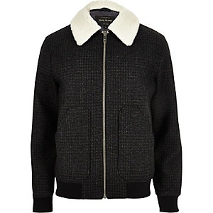 Grey wool check fleece collar jacket