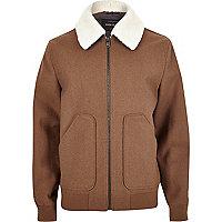Brown wool blend fleece collar jacket