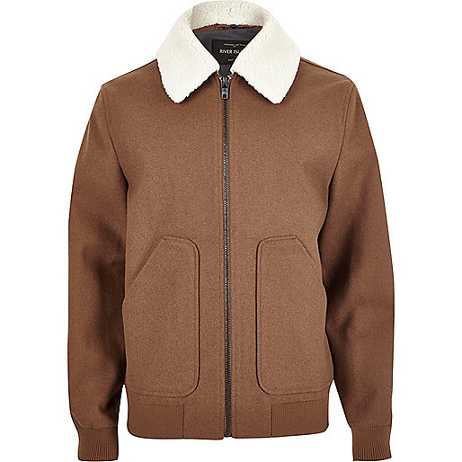 Brown wool blend fleece collar jacket