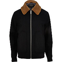 Navy wool blend fleece collar jacket