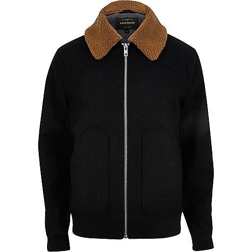 Navy wool blend borg collar jacket