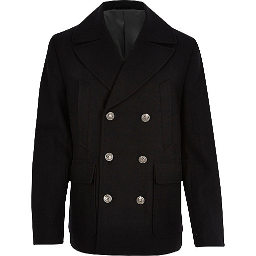Navy smart wool blend peacoat