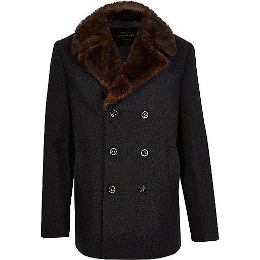 Grey wool blend faux fur collar peacoat