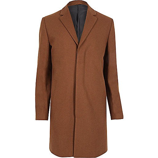 Pardessus habillé en laine mélangée marron