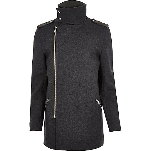 Grey wool blend smart zip jacket