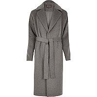 Grey wool blend wrap coat