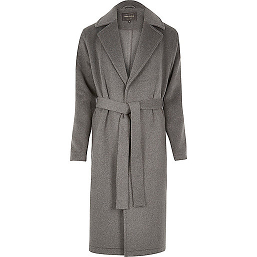 Grey wool blend wrap coat