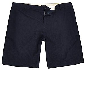 Navy linen slim fit chino shorts