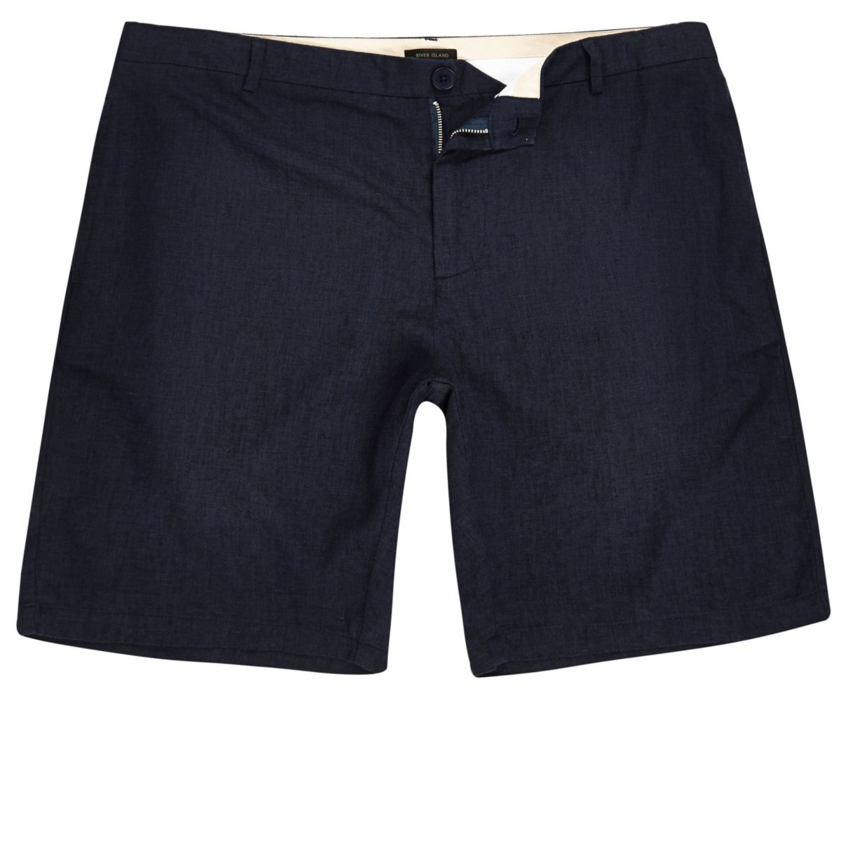 Navy linen slim fit chino shorts