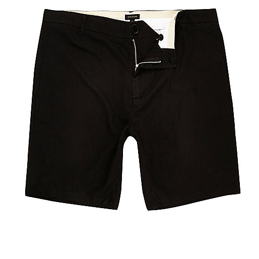Black linen slim fit chino shorts