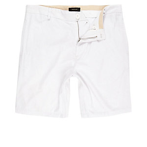 White linen slim fit chino shorts