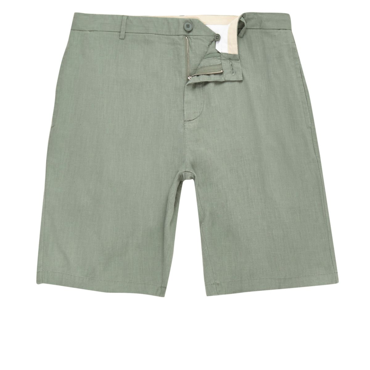 Green linen slim fit chino shorts