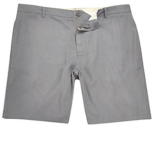 Grey linen slim fit chino shorts