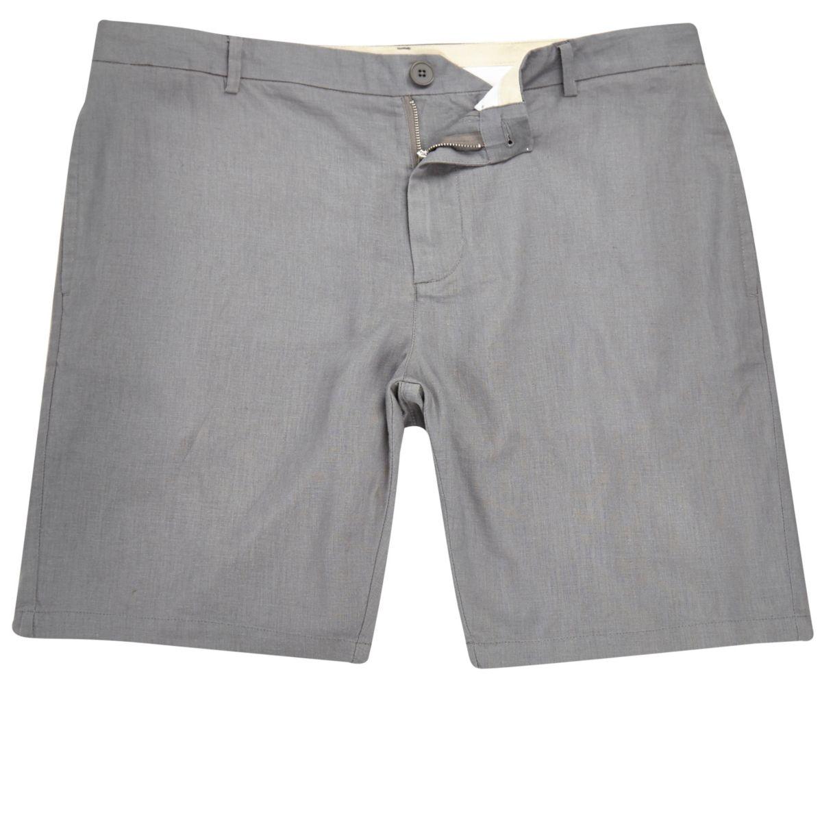 Grey linen slim fit chino shorts
