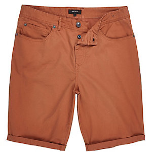Orange slim fit chino shorts