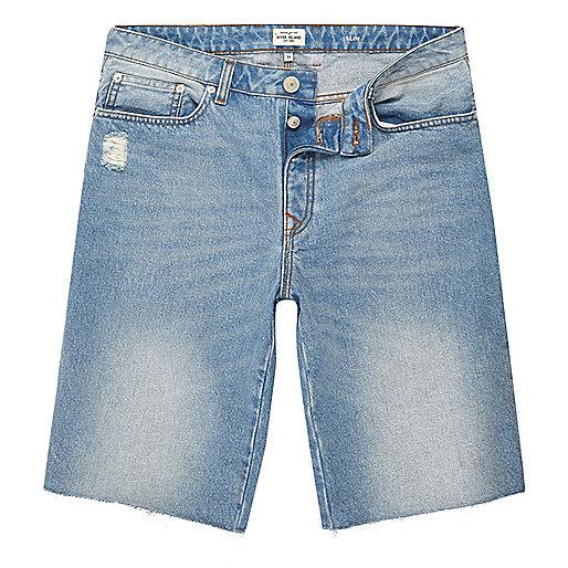 Light blue wash frayed denim shorts