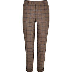 Ecru checked skinny cropped suit trousers