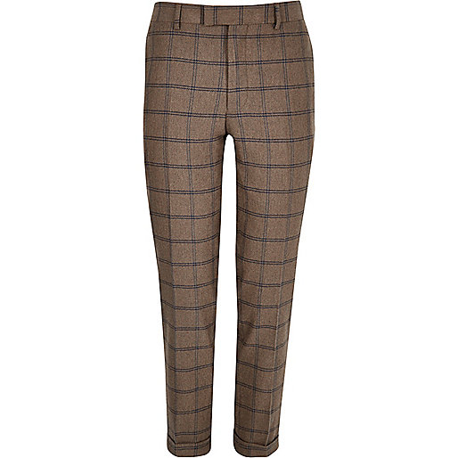 Pantalon de costume court à carreaux écru coupe skinny