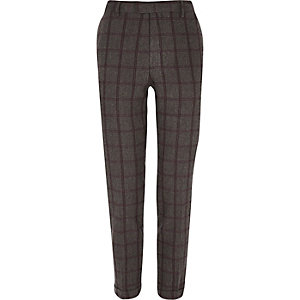 Grey checked cropped skinny suit pants
