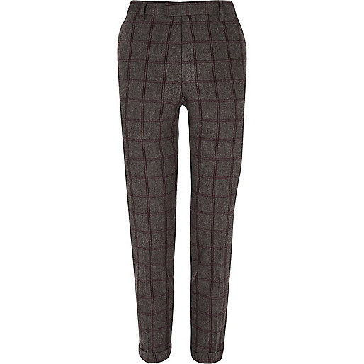 Grey checked cropped skinny suit trousers