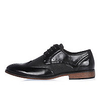Black croc embossed panel brogues
