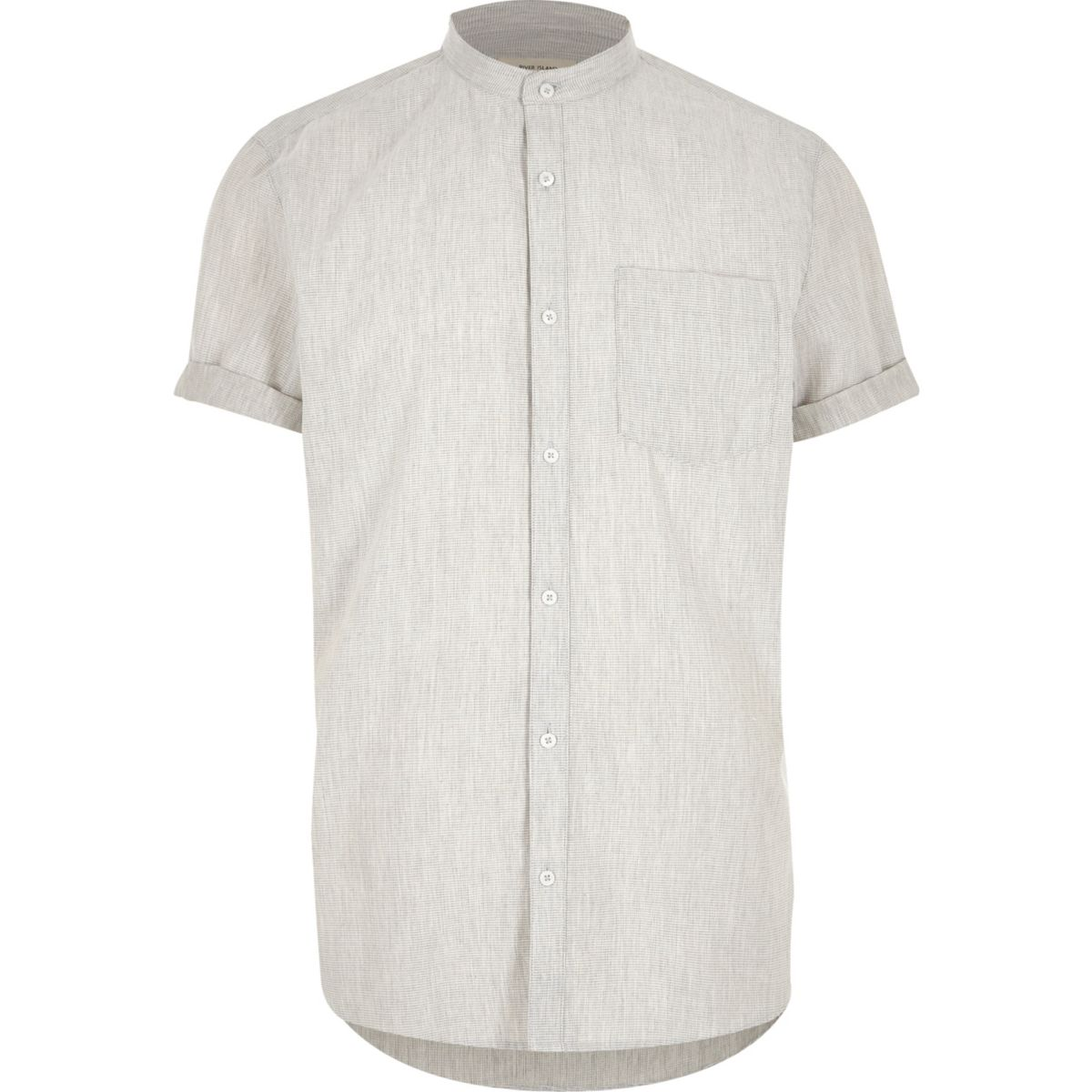 Grey waffle short sleeve grandad shirt shirts sale men for Short sleeve grandad shirt