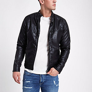 Black faux suede leather racer jacket