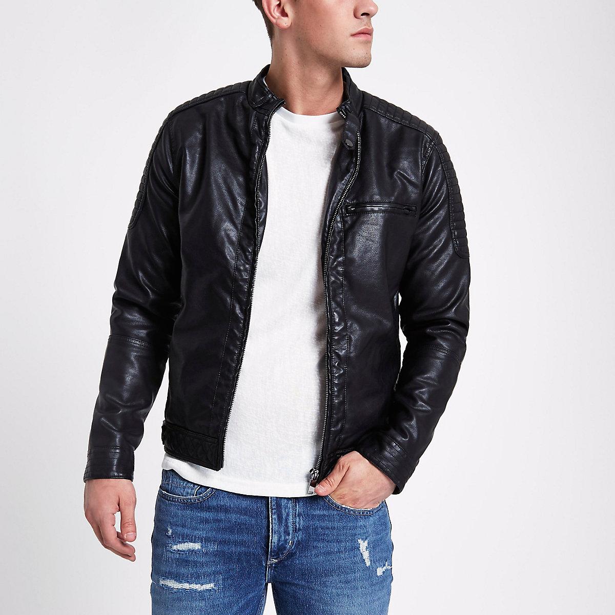Black faux leather racer jacket