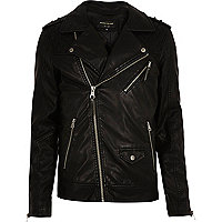 Black quilted biker jacket