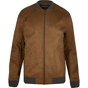 Light brown faux suede bomber jacket