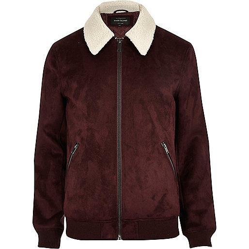Burgundy faux suede fleece collar jacket
