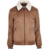 Tan faux suede fleece collar jacket