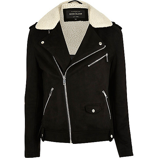 Black fleece collar biker jacket
